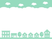 建物・街並みのシルエットの緑色の上下フレーム飾り枠イラスト