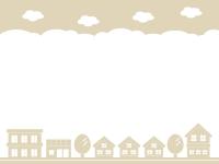 建物・街並みのシルエットのベージュ色の上下フレーム飾り枠イラスト
