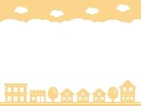 建物・街並みのシルエットの黄色の上下フレーム飾り枠イラスト