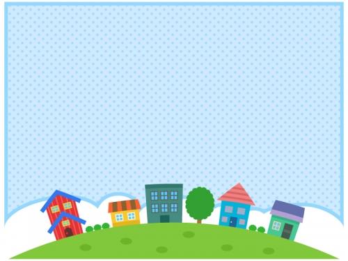 建物・街並みと水玉模様のフレーム飾り枠イラスト