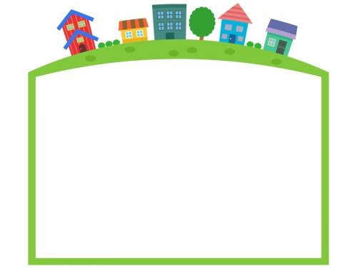 上部の建物・街並みの緑色フレーム飾り枠イラスト