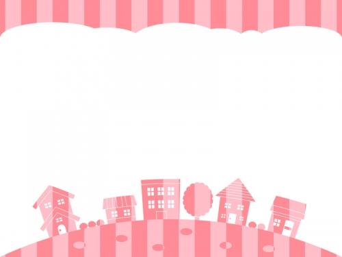 ピンク色ストライプの建物・街並みの上下フレーム飾り枠イラスト