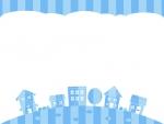青色ストライプの建物・街並みの上下フレーム飾り枠イラスト
