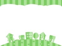 黄緑色ストライプの建物・街並みの上下フレーム飾り枠イラスト