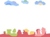 カクカクした建物・街並みと雲のフレーム飾り枠イラスト