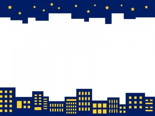 夜空と建物・街並みの上下フレーム飾り枠イラスト