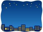 夜空と建物・街並みの手書き風フレーム飾り枠イラスト