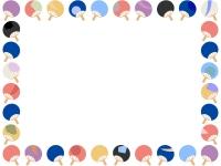 うちわの囲みフレーム飾り枠イラスト