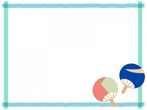 うちわと重ねた青色線の四角フレーム飾り枠イラスト