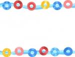 カラフルな浮き輪の上下フレーム飾り枠イラスト