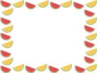 赤と黄色のスイカの囲みフレーム飾り枠イラスト