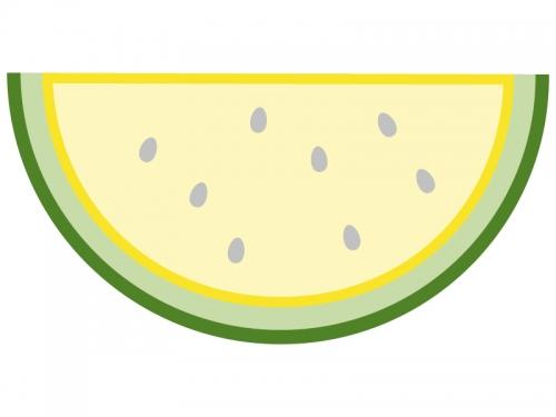 黄色スイカの形のフレーム飾り枠イラスト