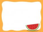 赤いスイカのオレンジ色フレーム飾り枠イラスト