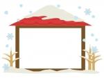 雪と家の冬のフレーム飾り枠イラスト