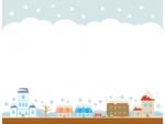 冬の建物・街並みと空の上下フレーム飾り枠イラスト