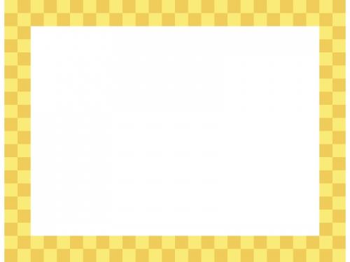 金色の市松模様の四角フレーム飾り枠イラスト