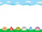 空と並んだテントのキャンプの上下フレーム飾り枠イラスト