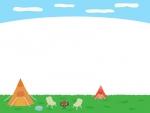 空とテントのキャンプの上下フレーム飾り枠イラスト