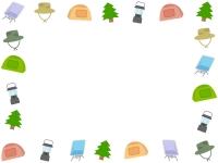 テントやランタンのキャンプの囲みフレーム飾り枠イラスト