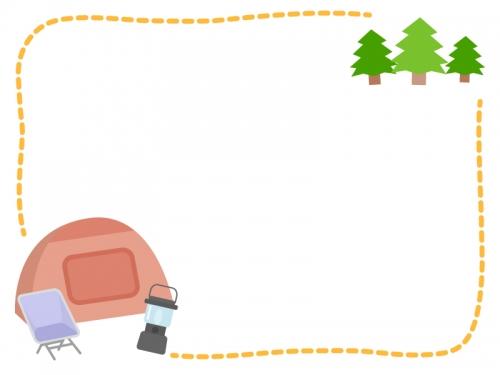 テントや森のキャンプの黄色点線フレーム飾り枠イラスト