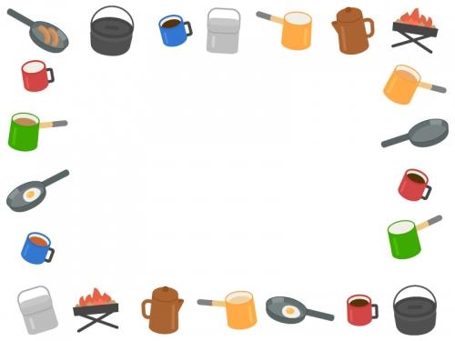 キャンプ・アウトドア料理の囲みフレーム飾り枠イラスト