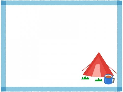 テントとコーヒーのキャンプの青色四角フレーム飾り枠イラスト