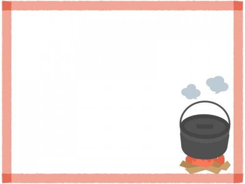 キャンプの鍋料理の赤色四角フレーム飾り枠イラスト