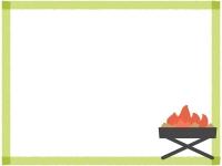 キャンプの焚火の黄緑色四角フレーム飾り枠イラスト
