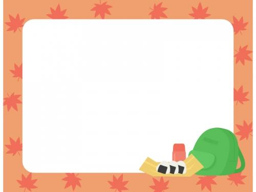 紅葉狩りのお弁当ともみじのフレーム飾り枠イラスト