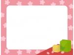 お花見弁当と桜のフレーム飾り枠イラスト