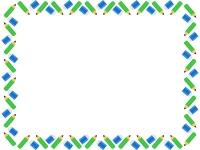 緑色の鉛筆と消しゴムの囲みフレーム飾り枠イラスト