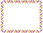 ピンク色の鉛筆と消しゴムの囲みフレーム飾り枠イラスト