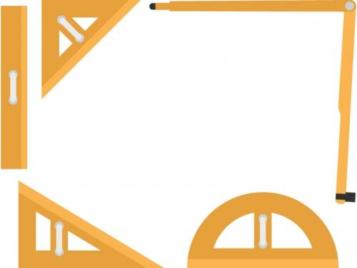 黒板用コンパスや分度器や三角定規のフレーム飾り枠イラスト