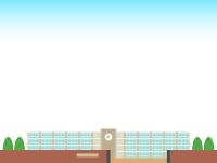 青空と学校の校舎の上下フレーム飾り枠イラスト