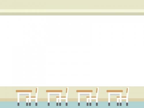 教室の机と椅子の上下フレーム飾り枠イラスト