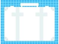 旅行カバンの形の水色チェック柄フレーム飾り枠イラスト