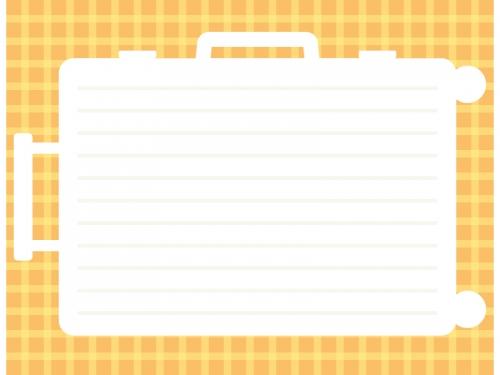 スーツケースの形のオレンジ色チェック柄フレーム飾り枠イラスト