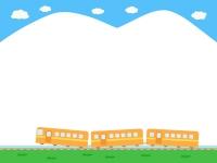 空と電車の上下フレーム飾り枠イラスト