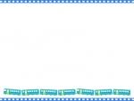 青い線路と電車の上下フレーム飾り枠イラスト