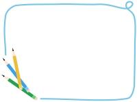 3本の鉛筆の水色の手書き風フレーム飾り枠イラスト