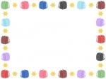 カラフルなランドセルの囲みフレーム飾り枠イラスト