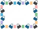 スクールバッグとカラフルなノートの囲みフレーム飾り枠イラスト