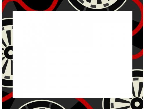 黒色の和柄・源氏車(げんじぐるま)の囲みフレーム飾り枠イラスト