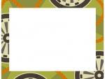 緑色の和柄・源氏車(げんじぐるま)の囲みフレーム飾り枠イラスト