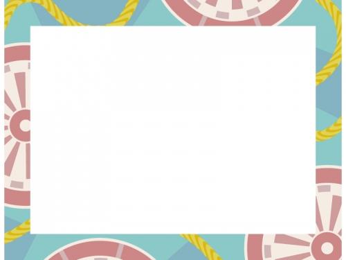 水色の和柄・源氏車(げんじぐるま)の囲みフレーム飾り枠イラスト