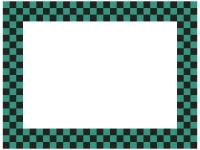 緑と黒の市松模様の囲みフレーム飾り枠イラスト