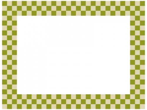 緑系の市松模様の囲みフレーム飾り枠イラスト