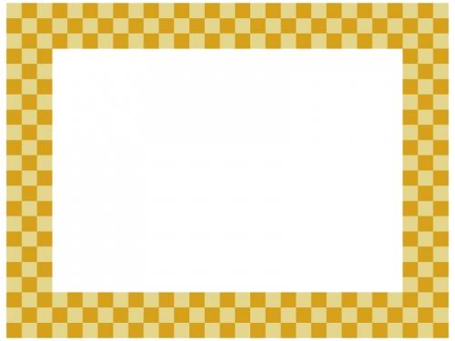 黄色系の市松模様の囲みフレーム飾り枠イラスト