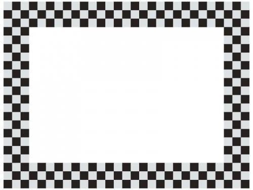 灰色と黒の市松模様の囲みフレーム飾り枠イラスト