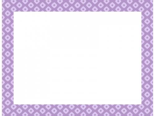 薄紫色の和柄・鹿の子(かのこ)の囲みフレーム飾り枠イラスト